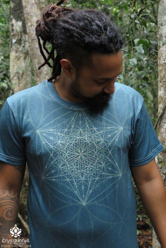 Aqua Star  Men's cotton T-shirt // Mandala by CrystalotusCreations