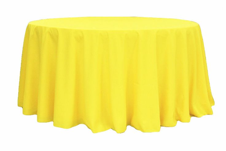 "Polyester 120"" Round Tablecloth - Yellow"
