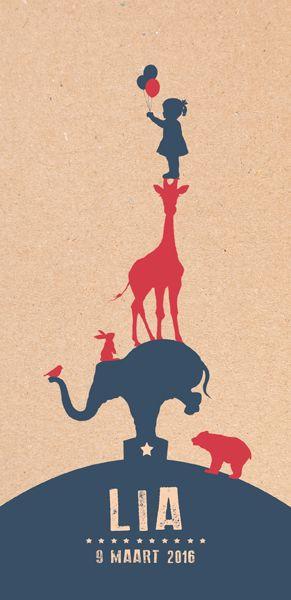 Geboortekaartje Lia - Pimpelpluis - https://www.facebook.com/pages/Pimpelpluis/188675421305550?ref=hl (#  meisje - dieren - giraf - olifant - beer - konijn - circus - silhouet - origineel)