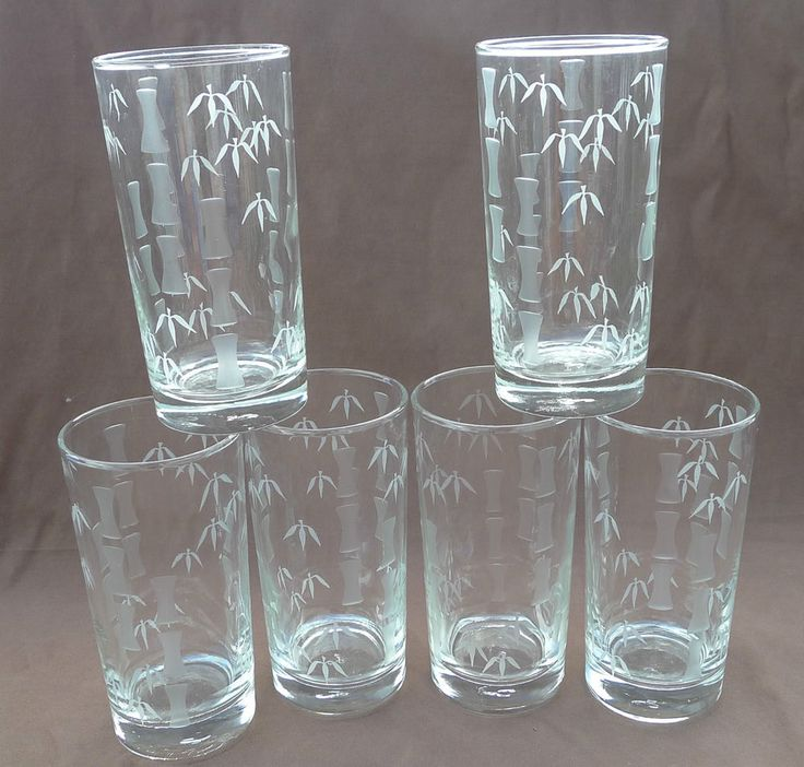 Lot Set 6 Libbey Etched Bamboo Glass Tumblers 12 Oz Jungle