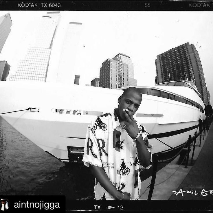 """#Repost @aintnojigga  A 25-year old Jaÿ-Z photographed in his first official press-shoot by Jamil GS in Battery Park City Downtown Manhattan in the Summer of 1995.  Here the photographer recollects this milestone in Jigga's career: """"This is when it all began for the chief and for me also. I think this was my second record industry gig. I remember it was low budget. I didn't know who Jaÿ-Z was at the time nor did anyone really in the world outside of Brooklyn but my friend Patrick Moxy at…"""
