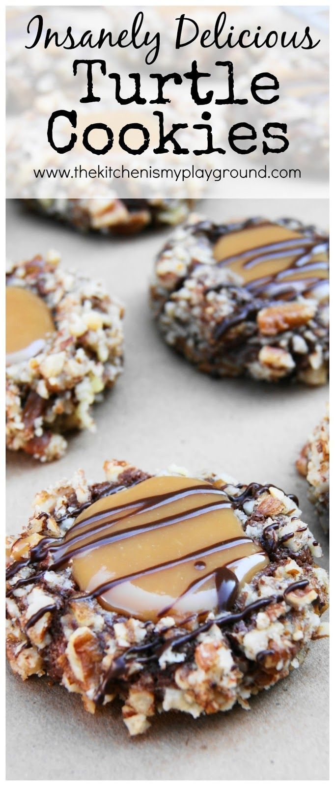 The classic flavors of turtle candy ... chocolate, pecans, and caramel ... in a soft and insanely delicious cookie.