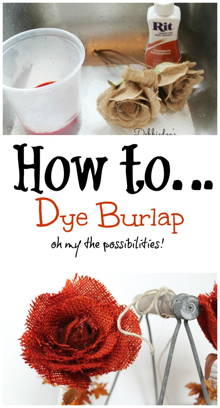 How to dye #burlap in 10 seconds! Oh the colors you can have are endless. #ritdye. Great Fall color!