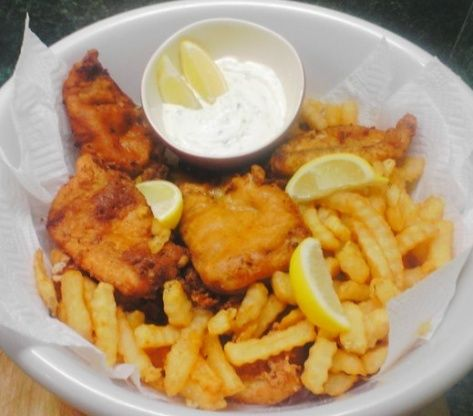 I got this off the food network site. I havent tried these but my hubby loves fish and chips. He grew up overseas and used to be able to get them regularly. I showed him several recipes, including zaar ones, and this was the one he said to make!