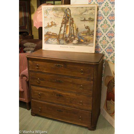 Ruskea talonpoikaislipasto 1800-luvun puolivälistä. Ylimmän laatikon sisällä neljä pientä laatikkoa.