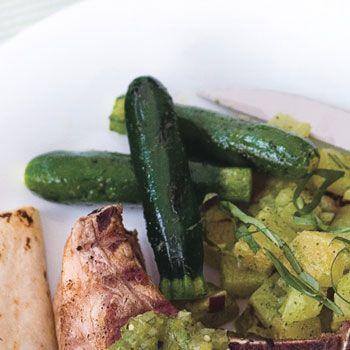 Grilled Garlic-Marinated Baby Zucchini | Epicurious.com