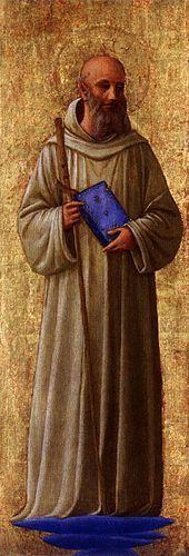 San Romualdo di Beato Angelico. Nobile ravennate  ( 952 ca. - 1027 ), divenne presto eremita, con l'aspirazione di riformare monasteri ed eremi sull'esempio degli antichi cenobi d'Oriente. Convertì Ottone III, che lo volle abate di Sant'Apollinare in Classe, carica che abbandonò clamorosamente dopo un anno, riprendendo le proprie peregrinazioni. L'ultimo eremo da lui fondato fu quello di Camaldoli.  Per Damiani scrisse la prima Vita del Santo 15 anni dopo la sua morte..