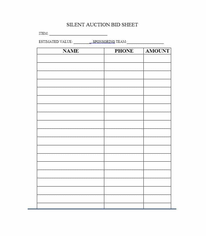 Template Silent Auction Bidding Sheet Expinfranklinfireco 5d4d040e Resumesample Resumefor Silent Auction Bid Sheets Auction Bid Silent Auction