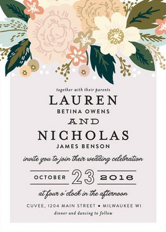 Gorgeous floral inspired invitation suite with modern fonts. #wedding