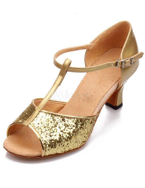 Chaussures danse latine en tissu de paillettes ruban aux chevilles à bout ouvert