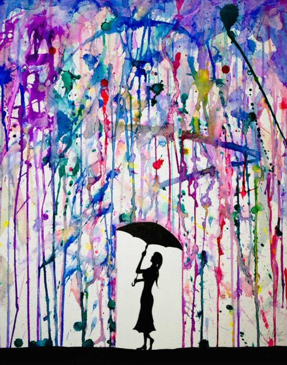 put paint tape to cover the place to stencil, put paint filled balloons around canvas, pop with darts, let dry, use stencil to add silhouette: Craft, Idea, Color, Art, Painting, Rain