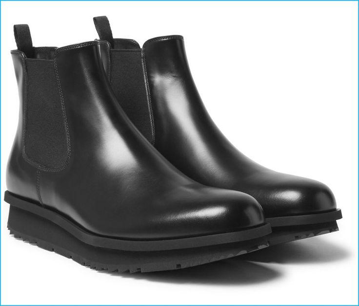 Prada Men's Black Leather Chelsea Boots