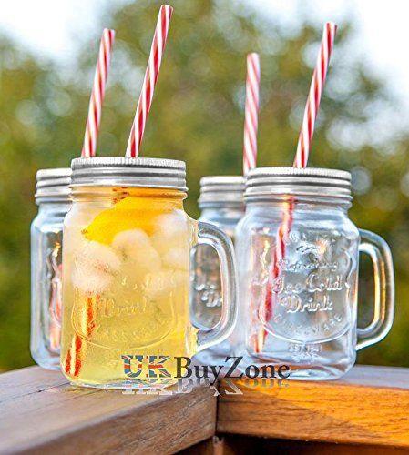 4 bicchieri-Set di barattoli in vetro con bicchiere da Cocktail-Cannucce mug con coperchio