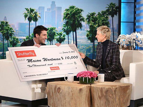 "Rosa´s Fresh Pizza owner Mason Wartman on ""The Ellen DeGeneres Show"" on Tuesday. (Photo via Ellen DeGeneres website)"