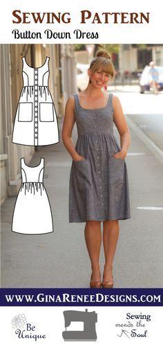 NEW:: Button Down Dress Pattern; Midi Dress Pattern