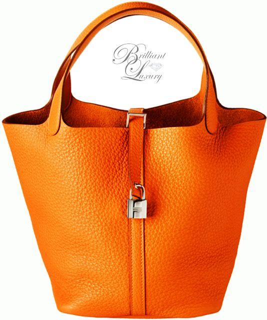 Brilliant Luxury * Hérmes Orange Picotin Lock Bag