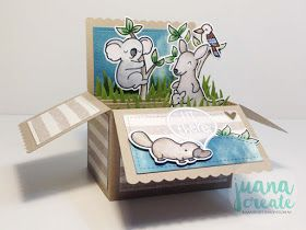 Hi There! Critters Down Under featuring Scalloped Box Card by Lawn Fawn. Juana Create