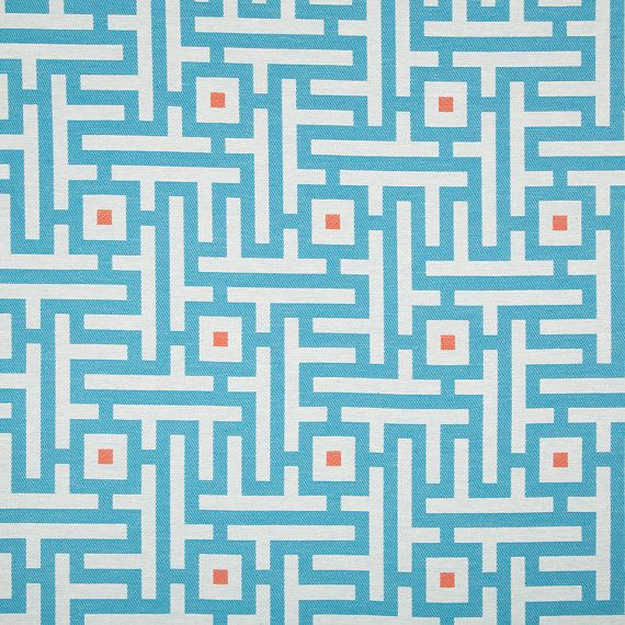 Turquoise Orange Geometric Upholstery Fabric for Furniture - Modern Blue Orange Curtain Material - Blue White Maze Design Fabrics Online