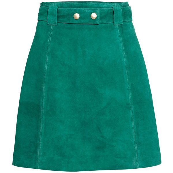 H&M Suede skirt (£30) ❤ liked on Polyvore featuring skirts, mini skirts, bottoms, saias, faldas, green, h&m, mini skirt, short green skirt and h&m skirts
