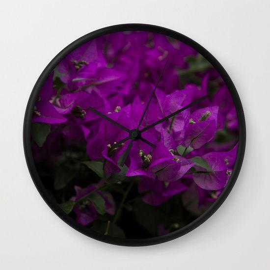 Bougainvillea. Flowers in the garden. Wall Clock    #bougainvillea #photography #nature #flowers #floral #blooming #magenta #clock #wallclock