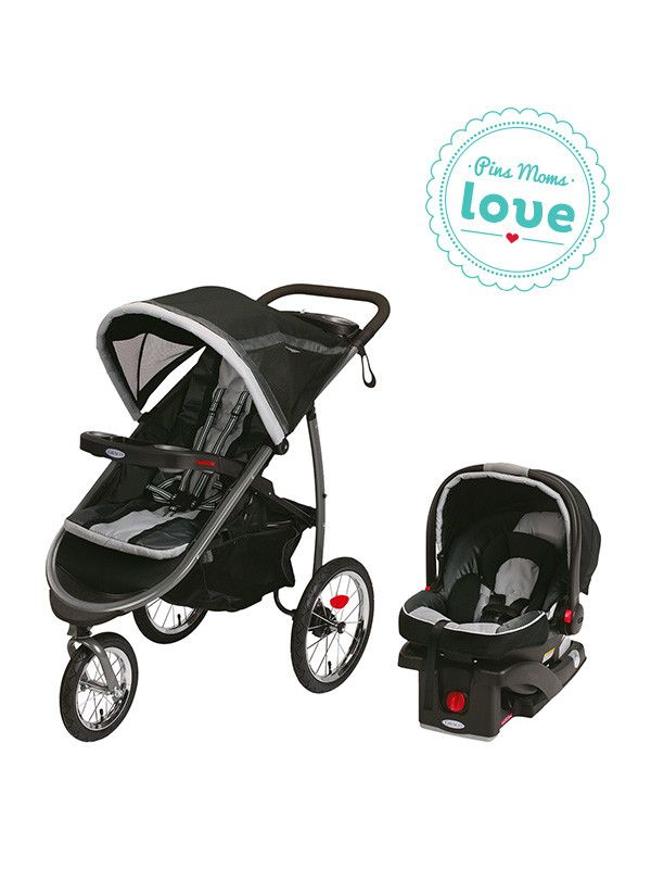 Easily maneuver rough terrain with the Graco FastAction Fold Click Connect jogging stroller, with an infant car seat included.