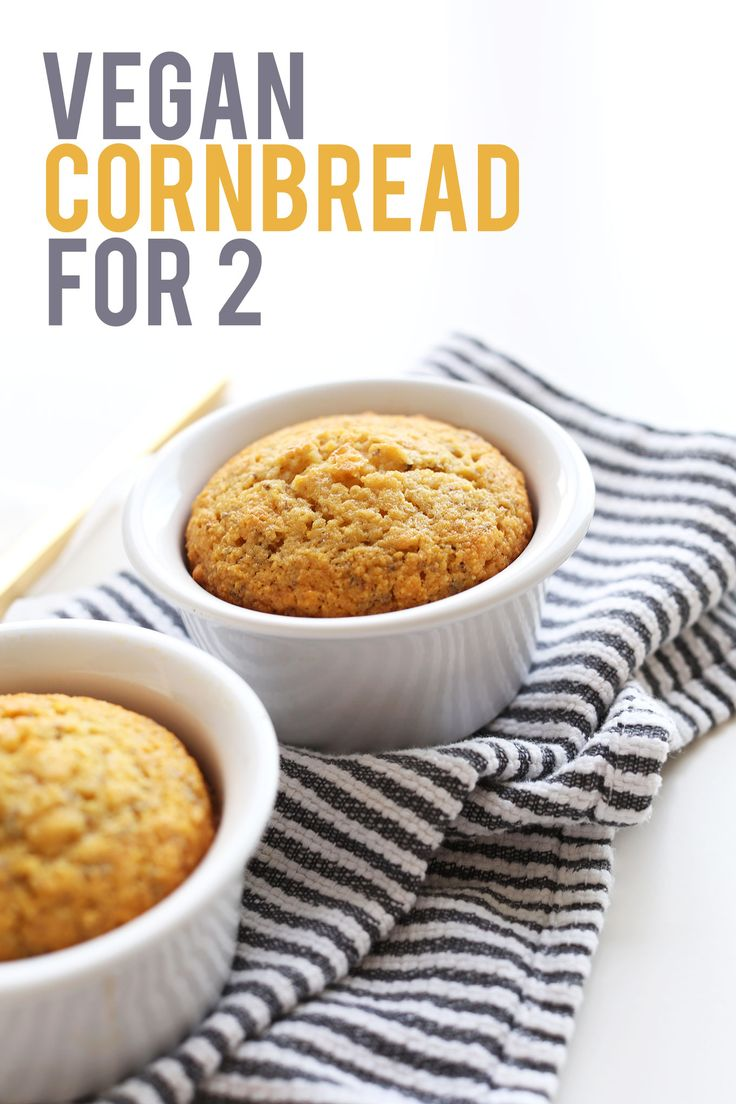CRUMBLY, moist Vegan Cornbread for 2, just ONE BOWL! #vegean