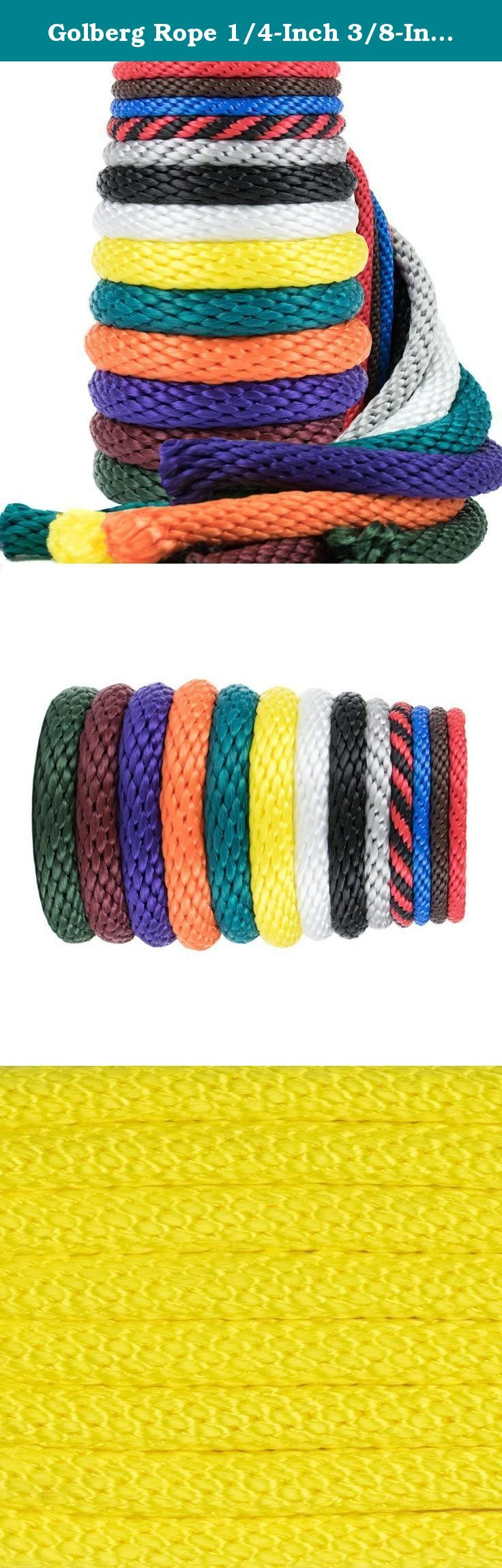 Golberg Rope 1/4-Inch 3/8-Inch 1/2-Inch 5/8-Inch 5/16 - Inch Solid Braid Utility Rope Made in USA - Multifilament Polypropylene MFP Derby Rope Boating Rope - Mildew Resistant - 100 X YELLOW. If you're looking for basic, affordable, all-purpose and all-weather utility rope, this is it. Golberg Ropes's Multifilament Polypropylene MFP Rope, you will always be prepared to tie down or hoist up that deer from hunting, tie that pesky hose in your garage & hang it up, secure your boat to the dock…