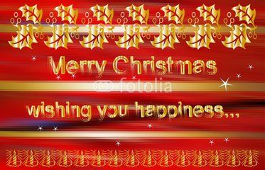 Merry Christmas wishes on red and golden background with leaves and candles decoration
