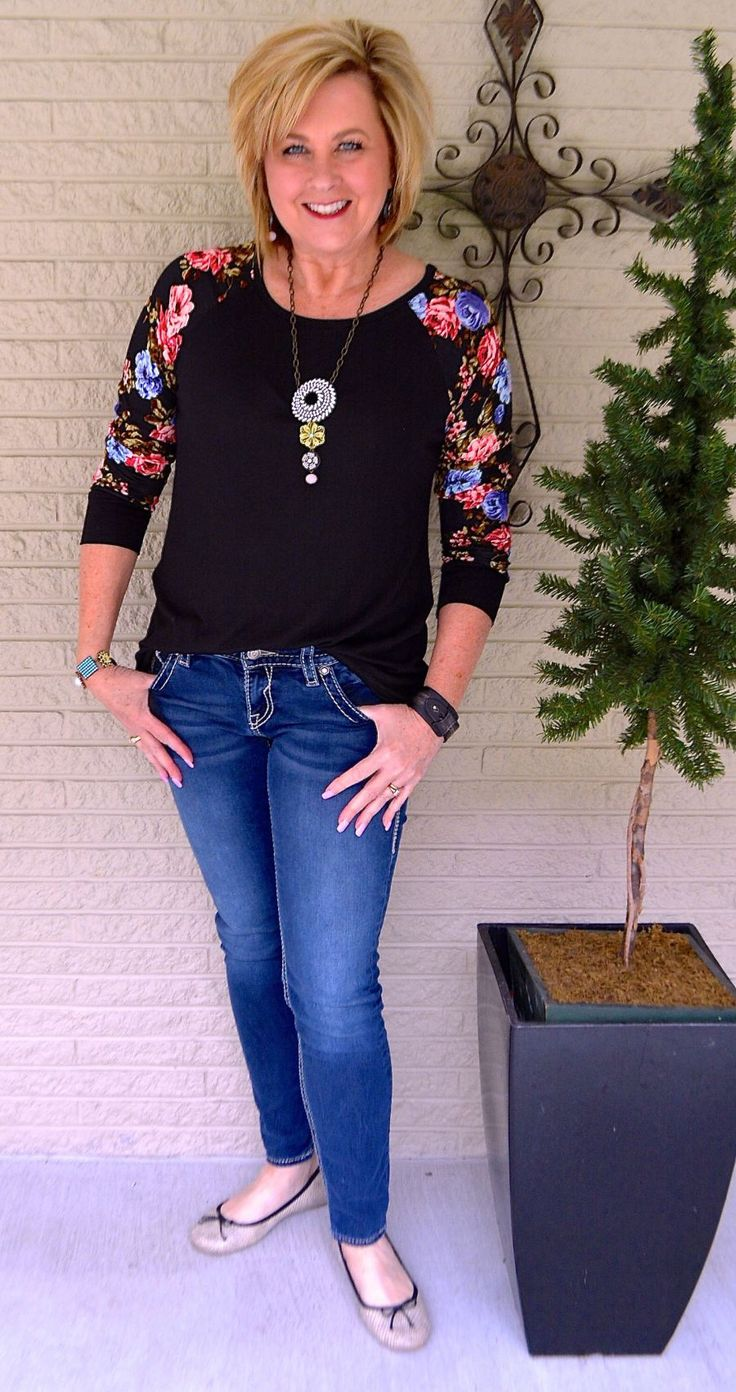50 IS NOT OLD | FLORAL SLEEVES FOR SPRING | Casual | T-Shirt | Floral | Comfortable | Fashion Over 40 for the everyday woman