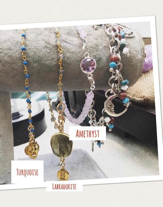 Sterling Silver Dipped in 24k Gold *Turquoise with Ohm* *Labradorite* *Amethyst*