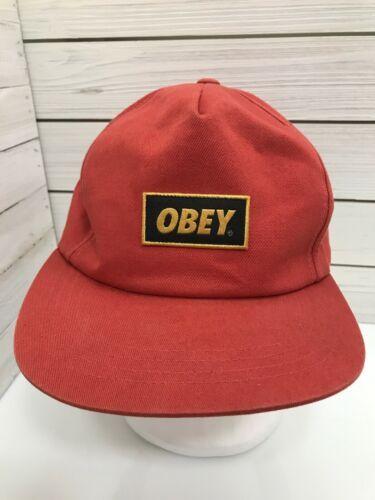 8cc2636988151 Obey Orange Cap Snapback Hat Streetwear Surfer Flat Bill Patch Sample As Is