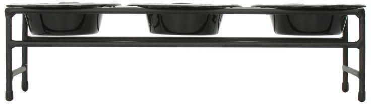 Platinum Pets Triple Diner Feeder with Stainless Steel Dog Bowls 6 oz Black