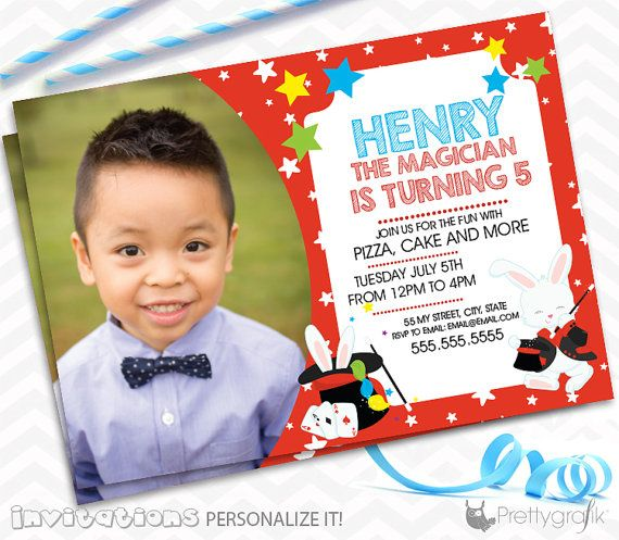 Magician party Invitations personalized party by PrettygrafikGifts