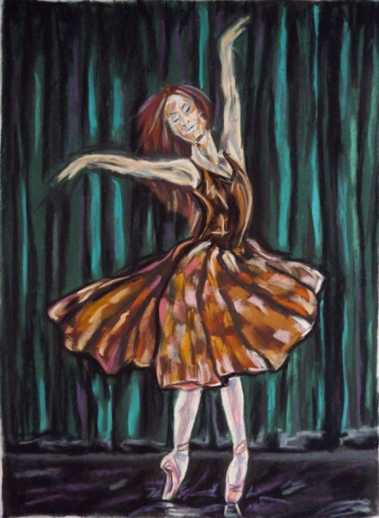 Buy Lovely dance, Pastel drawing by Anna  Sasim on Artfinder. Discover original art for sale, paintings, prints from independent artists. #ballerina #dancer Soft pastel art on Pastelmat paper, woman drawing, woman painting.