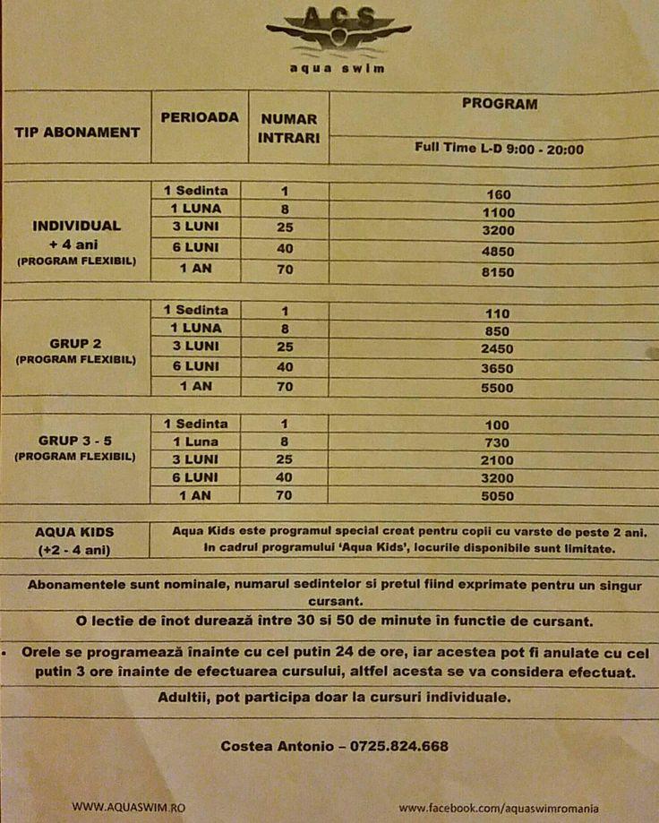 Hai la inot ! In septembrie, discounturi de 10% la toate abonamentele, locuri limitate!  Pentru inscrieri si informati : Antonio Costea Manager Aqua Swim, B-dul Poligrafiei, Nr 3-5, Ramada Plaza 07clubinot (0725.824.668)