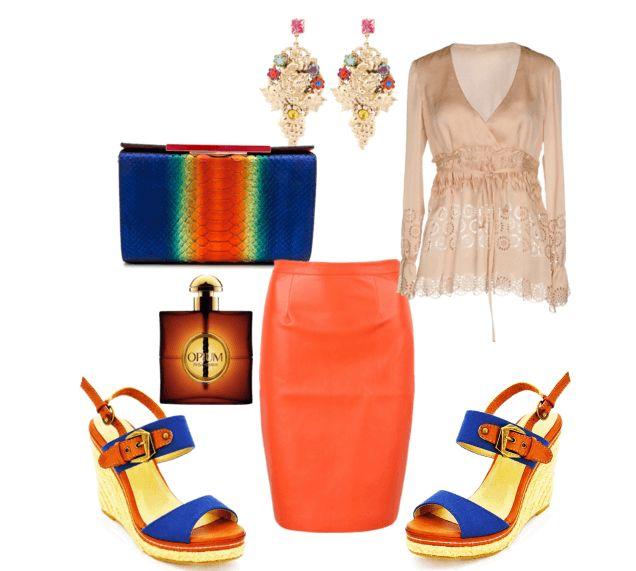 Оранжевая юбка-карадаш, бежевая блузка, клатч, босоножки, серьги
