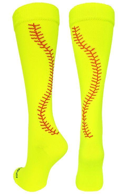 MadSportsStuff Crazy Softball Stitch Socks, Softball gifts, Softball, Softball Socks
