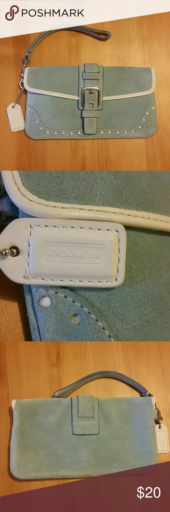 Blue Coach Wristlet Has been used and could use a little cleaning on outside, but otherwise in good/decent condition! Inside is very clean. Selling cheap to make more room in my closet! Make an offer! Coach Bags Clutches & Wristlets