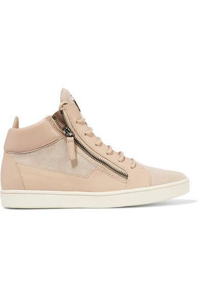 Giuseppe Zanotti - Leather And Suede High-top Sneakers - Neutral - IT40.5