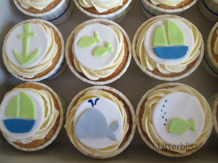 Sea themed baby shower cupcakes.