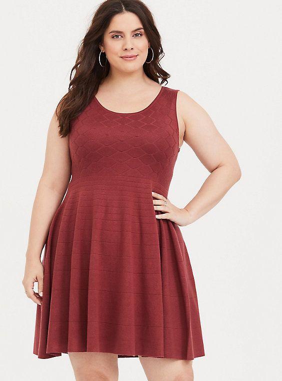 c4daa6facaa Rust Sweater Tank Skater Dress in Red