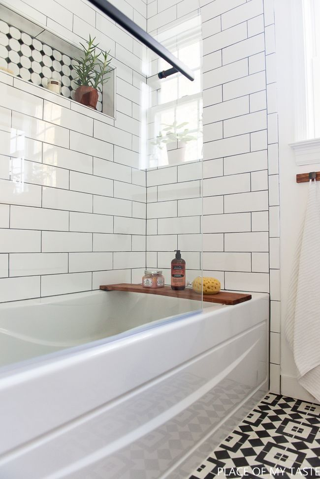 love the white subway tile on the wall so clean and fresh - Wall Tiles For Bathroom Designs