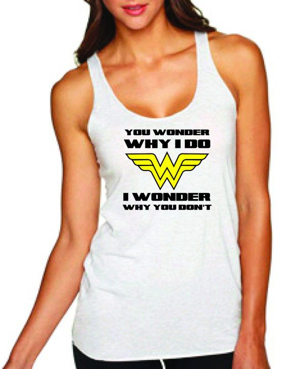 Wonder Woman work out tank top by EllevanDesigns on Etsy