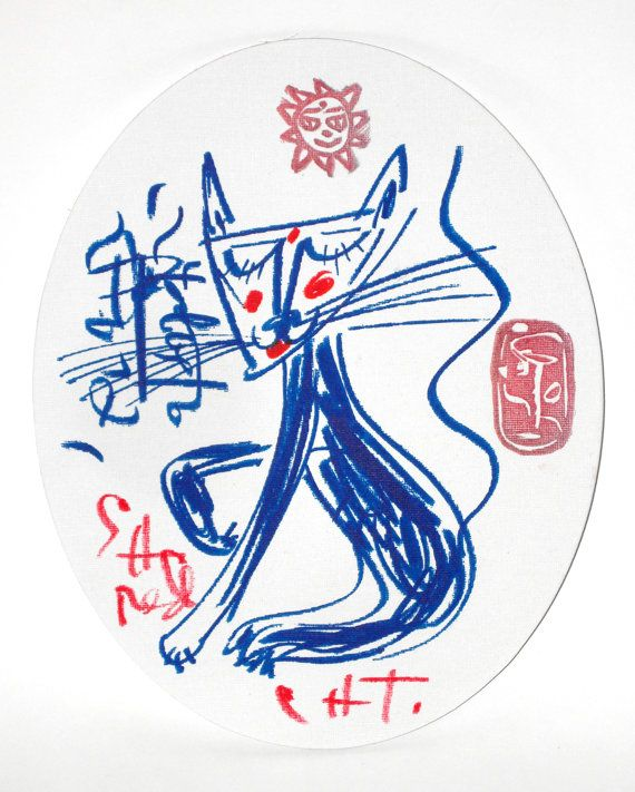 Artist: Jack Babiloni Title: SACRED CAT Year: 2012 Felt-Tip Blue and Red Markers and Jack Babiloni's original seals on oval board canvas H 11.7 inches x W 9.4 inches x D 0.2 inches H 300 mm x W 240 mm x D 4 mm