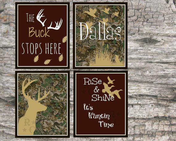 hunting room prints boys camo wall art hunting typography custom personalized name kids bedroom nursery wall art room decor digital prints