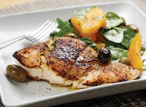 Bertolli® Olive Oil - Grilled Halibut with Spinach, Orange, and Olive Medley
