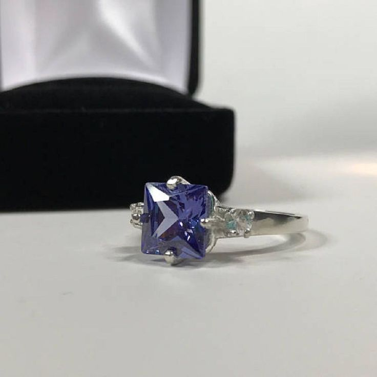 Awesome 14k White Gold Blue Tanzanite Gemstone 0.57ct Square Cut Engagement Ring #GoldJewellery17 #Simulated