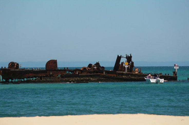 Tangalooma Wrecks - what a view. There were many people Snorkelling here. Must be careful though as there are many hazards there including Sharks and rips in the current!