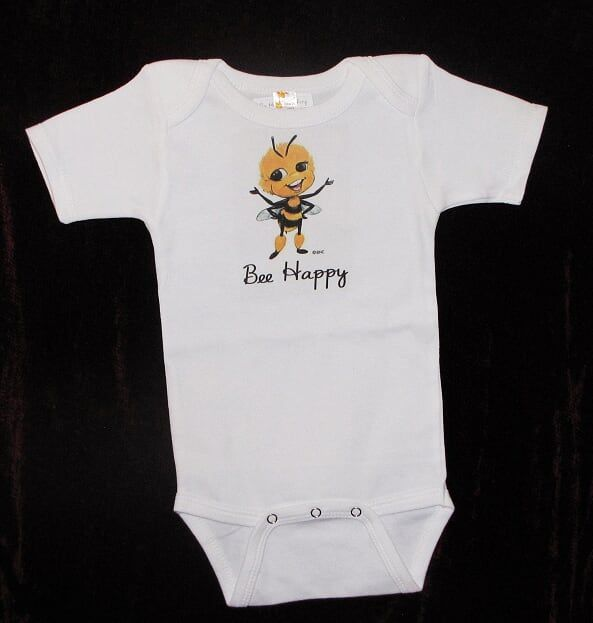 This little onesie makes for one Happy Baby ! Our Bee Happy Baby Line