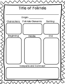 This graphic organizer would be perfect to use during a folktale unit, but can also be used after reading a single folktale. Characters, setting, elements of folktales, beginning/middle/end, and comparing and contrasting are all covered by this one graphic organizer!